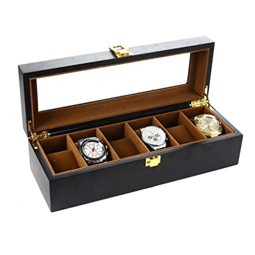 ZHUSHI 6 Rejillas De Reloj Box Black Matte Spray Paint Watch Caja De Almacenamiento Organizador para Hombres Reloj De Cuarzo Mujeres Cajas De Joyería