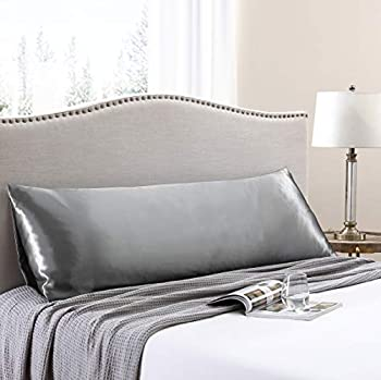 Love s cabin Body Pillow Cover 20x54 inches Dark Grey Soft Satin Body Pillow case with Envelope Closure Silky Slip Cooling Body Pillow Pillowcases for Hair and Skin