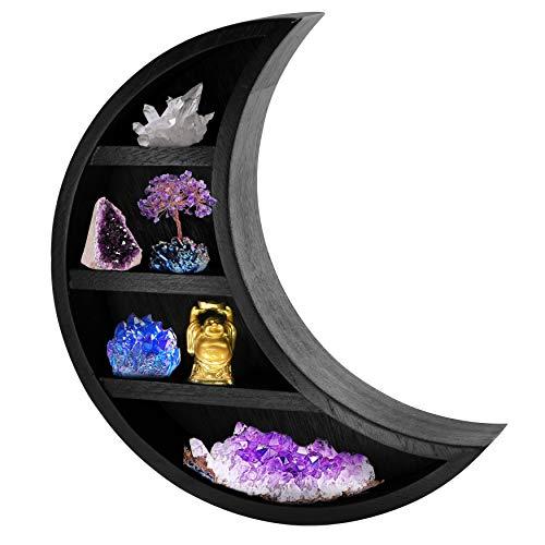TopMoon Wooden Moon Shelf - Moon Decor for Bedroom Bathroom Living Room - Hanging Crescent Moon Shelf for Crystals Stone Display - Moon Shaped Wall Decor for Essential Oil Perfume - 14x12 Black