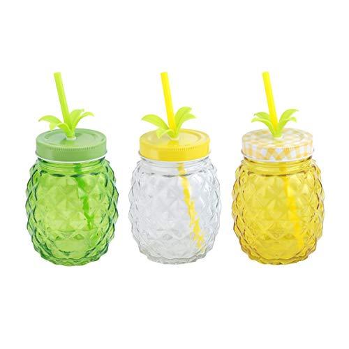 CAPRILO. Lote de 12 Vasos Decorativos de Cristal con Pajita Piñas. Vajillas y Complementos. Regalos Originales para Niños y Niñas. Detalles para Comuniones, Cumpleaños, Bautizos y Bodas.