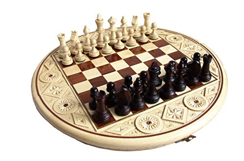 Amazinggirl Schachspiel Schach rund Schachbrett Holz - hochwertig Chess Board Set Schachfiguren mit Intarsien 34 cm Ø