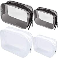 Meetory - Juego de 4 neceser de viaje transparente de PVC con cremallera, impermeable, bolsa de maquillaje transparente para vacaciones, baño y organización (pequeño, mediano)