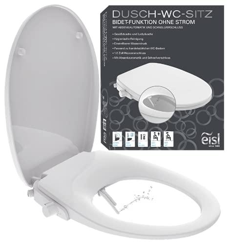 EISL Dusch WC-Sitz Aufsatz (kein Stromanschluss für die Dusch Funktion benötigt), Toilettensitz mit Bidet Einsatz, Po Dusche & Absenkautomatik (inkl. Anschlussset), Weiß