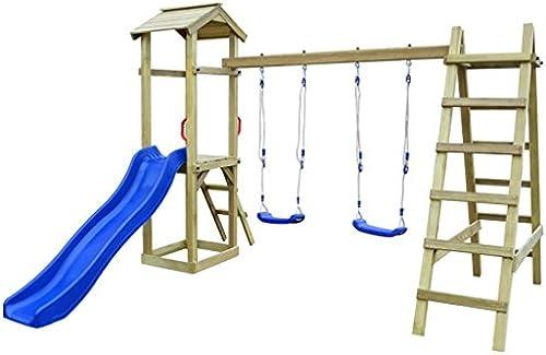 Festnight Spielturm Kletterturm Spielplatz mit Rutsche Leitern Schaukeln 286 x 237 x 218 cm Kiefernholz