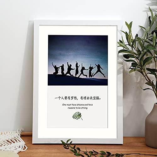 LZYMLG Marco de fotos A4 de 21 x 29,7 cm, para montaje en pared, hecho de madera maciza y plexiglás, imágenes para galería, decoración de estudio (blanco)