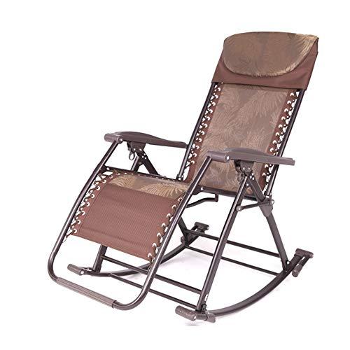 FENGZE Home Leisure Chair - Sun-Lounger Klappstühle Schaukelstuhl Liegestühle Büroliesta Sessa Sessel Lässige Sessel Verstellbare Winkel Sonnenliegen Gartenstuhl Sommer Strandstuhl ( Color : Brown )