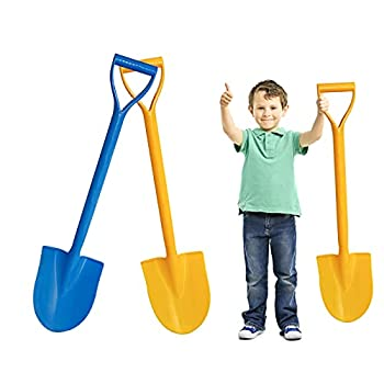 Holady Beach Shovels - Large Size 25 Inch Beach Shovels for Kids Heavy Duty Plastic Shovel Toys with Handle for Digging Sand and Beach Fun Gift Set Bundle 2 Pack