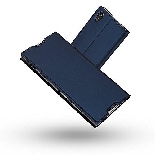 Radoo Coque Sony Xperia XA1 Plus, Ultra Mince en Cuir PU Premium Housse à Rabat Portefeuille Coque Étui de Bumper Folio à Clapet avec [Fermoir Magnétique] pour Sony Xperia XA1 Plus (Bleu)