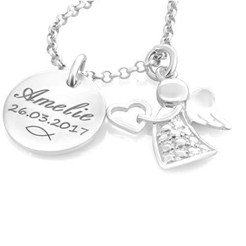 Taufkette Mädchen mit Gravur ❤️ Namenskette Taufe Silber ❤️ Taufschmuck Engel Taufgeschenk Geburt Kette Schutzengel Baby Heilige Taufe | HANDMADE IN GERMANY