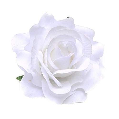 HENGSONG Elegante Damen Accessoires Haarblumen Haarblüte Haarspange Haarschmuck Rose Broschen Ansteckblume viele Farben (Weiß)