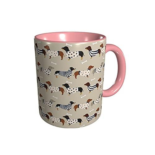 YUANLIN porzellantasse Dackehunds glänzende keramische Kaffeetasse Teetasse für Büro und Zuhause geeignet für Spülmaschine und Mikrowelle porzellantasse Bone China (Capacity : One Size, Color : Pink)
