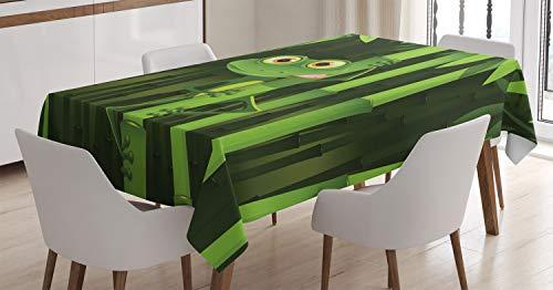 ABAKUHAUS Bambus Tischdecke, Dschungel-Bäume-Spaß-Frosch, Für den Inn und Outdoor Bereich geeignet Waschbar Druck Klar Kein Verblassen, 140 x 200 cm, Grün