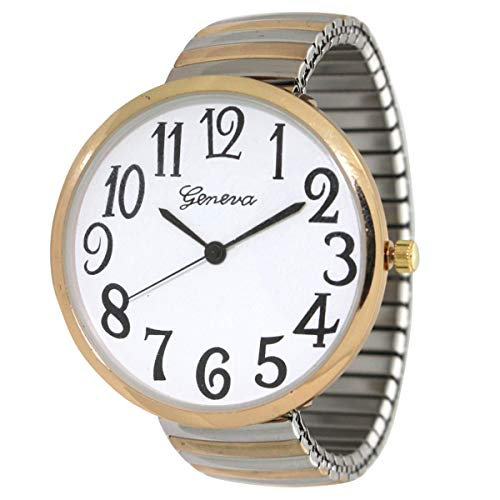 Geneva Super Large Stretch Watch Clear Number Easy Read (Two Tone)