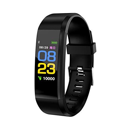 Rastreador de Fitness, Reloj Inteligente, Monitor de frecuencia cardíaca, presión Arterial y sueño, Contador de Pasos, Pulsera Bluetooth Resistente al Agua IPX7 para Reloj Inteligente fitbits (Negro)