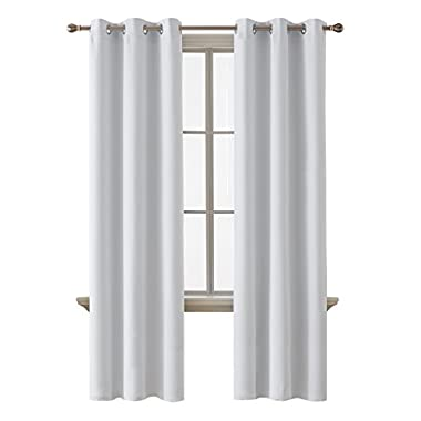 Deconovo Room Darkening Thermal Insulated Blackout Grommet Window Curtain Panel For Nursery Room, Greyish White, 42x95 Inch, 1 Panel