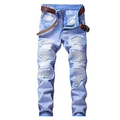 N\P Jeans - Pantalones de cinco colores para hombre con agujeros, multicolor