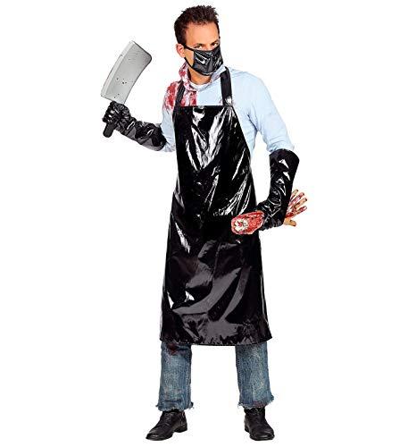 shoperama Halloween Horror Schlächter Set L/XL Lack Schwarz Schürze Handschuhe Mundschutz Herren Kostüm Butcher Mörder Serien-Killer