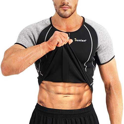 Junlan Mens Sauna Sweat Shirt Workout Neoprene Top Training Body Shaper Clothes Sweat Sauna Suit Exercise Fitness Short Sleeve for Men (Black, XL)