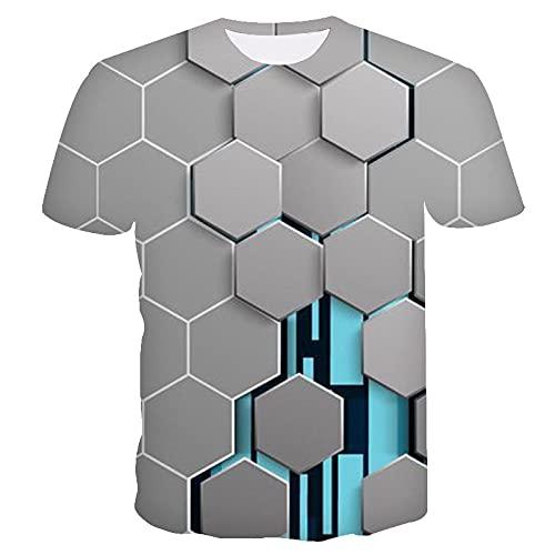 SNPQ Unisex 3D Aufdruck T-Shirts,Unisex T-Shirt Lose O-Ausschnitt Kurzarm 3D-Druck Grau Hexagon Grafiken Lässige Streetwear Neuheit Geburtstagsgeschenk Für Studentenpaare Freund,Medium