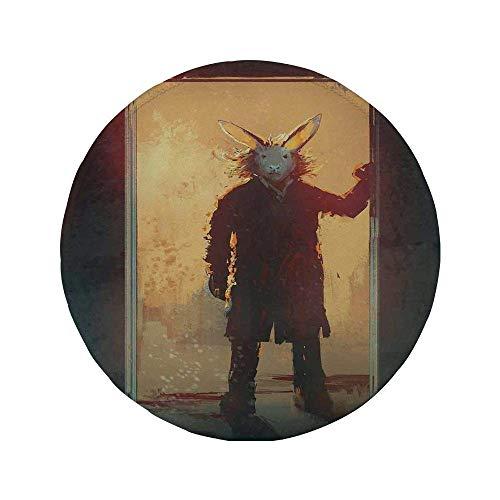 Rutschfreies Gummi-rundes Mauspad Fantasy Art House-Dekor Mann mit Kaninchenmaske an der Tür Acrylfarbe für spirituelle Menschen Gelb Schwarz 7.9'x7.9'x3MM