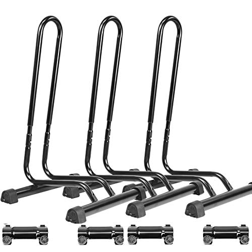 CyclingDeal Adjustable 3 Bike Floor Parking Rack Indoor Home Storage Garage Bicycle Nook Rack Free Standing Apartment Stands - Great for Mountain Road Kids Hybrid Bikes