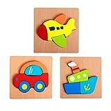 FLORMOON Puzzles de Madera para niños pequeños 3pcs Rompecabezas Vehículos Avión Juguetes educativos para niños, niñas y niños.