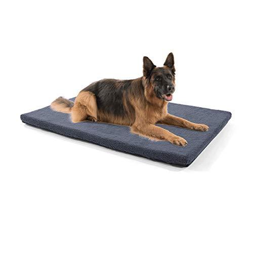 Brunolie Nala - Hundedecke in Dunkelbraun, rutschfeste Hundematte mit Reißverschluss, für Hunde und Katzen geeignet, Größe L (120 x 80 x 5 cm) Grau