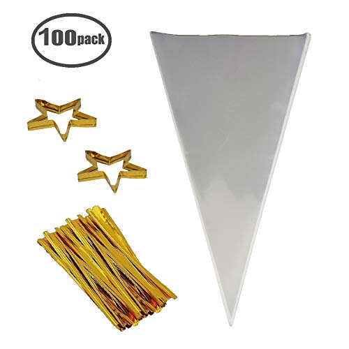 """COOLAKE Clear Cone Bags 100PCS Cellophane Triangle Clear Treat Bags with Gold Twist Ties for Favor Christmas Candy Popcorn Handmade Cookies Sweets Crafts 14.5"""" by 7"""""""