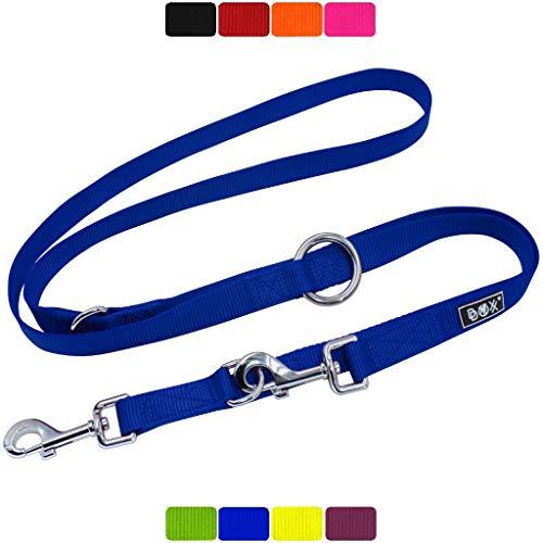 DDOXX Hundeleine Nylon, 3fach verstellbar | viele Farben & Größen | für kleine & große Hunde | Doppel-Leine Hund Katze Welpe | Schlepp-Leine groß | Führ-Leine klein | Lauf-Leine | XS, Blau, 2m