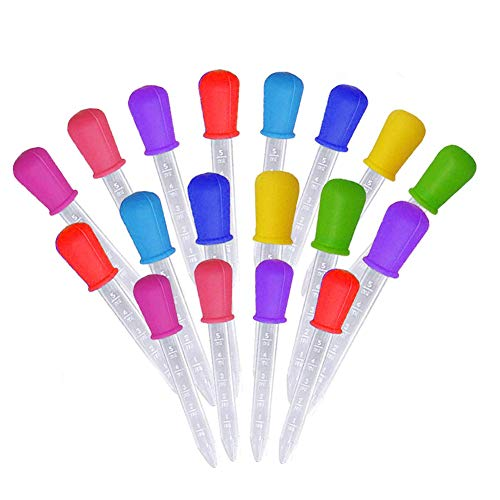 XP-Art 20 Pack Liquid Droppers for Kids Silicone and Plastic Pipettes with Bulb Tip 5 ML Eye Dropper for Candy Molds