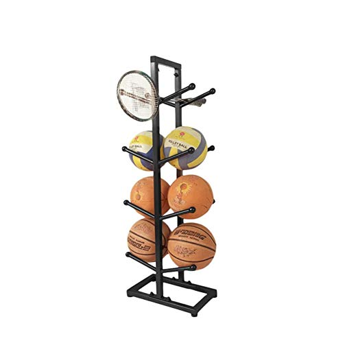 Fitlyiee Large Capacity Basketball Organizer Sturdy Iron Ball Rack for Home Garage (Black)
