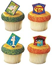 Phineas and Ferb Cupcake Ring Toppers Set of 12