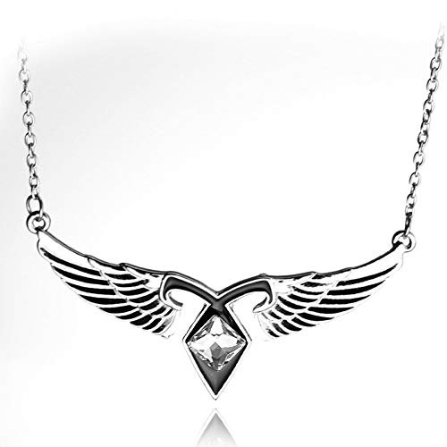 JKBDH Bone City Angel Power Necklace, Wings Pendant Necklace with Rhinestones