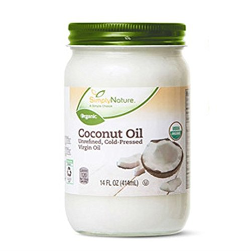 Coconut Oil Unrefined, Cold-Pressed Virgin Oil by Simply Nature 3-Pack (14 fl oz/each)