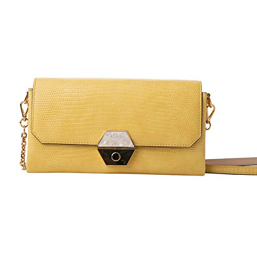 """Size: Approx. 7 7/8"""" (L) x 4 1/4"""" (H) x 1 1/4""""(W) Flap style with push lock closure. Interior: logo lining, 2 credit card slots and 1 billfold and zipper pockets. Remove long crossbody strap w/ Faux leather & chains. High quality Artificial leather (..."""