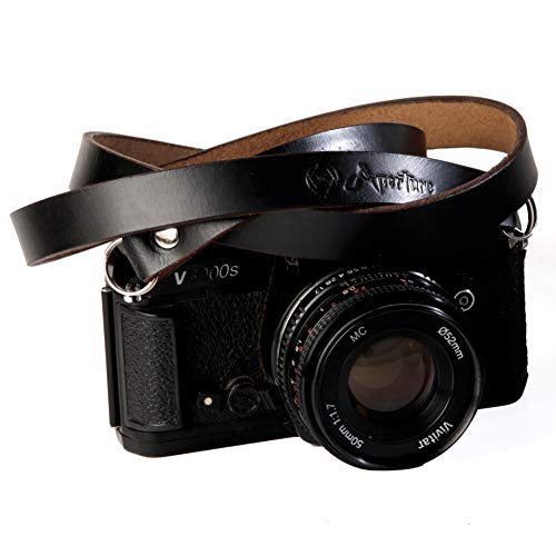 Xaperture Classic Genuine Buff Leather Camera Neck Strap for SLR/DSLR and mirrorless Cameras - Universal, Sturdy and Durable (110cm, Black)