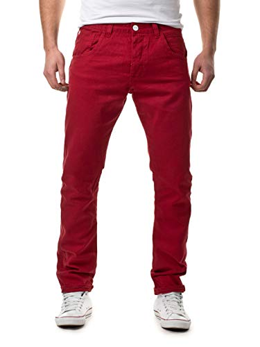 Sky Rebel Herren Chinos Anti-Fit Chino Hose 15227, 15400 Dark red, W34/L34, 15400 Dark red, W34/L34