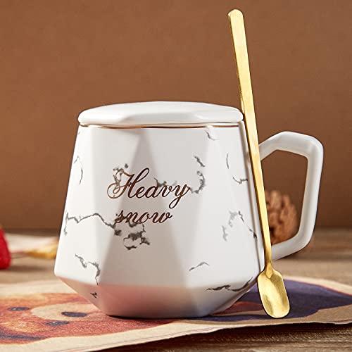 DUJUST Tazza da caffè per uomo/donna, grande tazza di caffè in porcellana bianca con coperchio e 1 cucchiaio, moderno design chic tazza da tè caffè con finiture dorate, pacchetto regalo, 450ml(bianco)