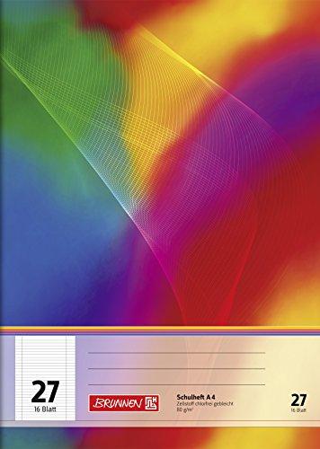 Brunnen 104492711 Schulheft (A4, 16 Blatt, liniert, mit Randlinien, Lineatur 27) 10 Stück