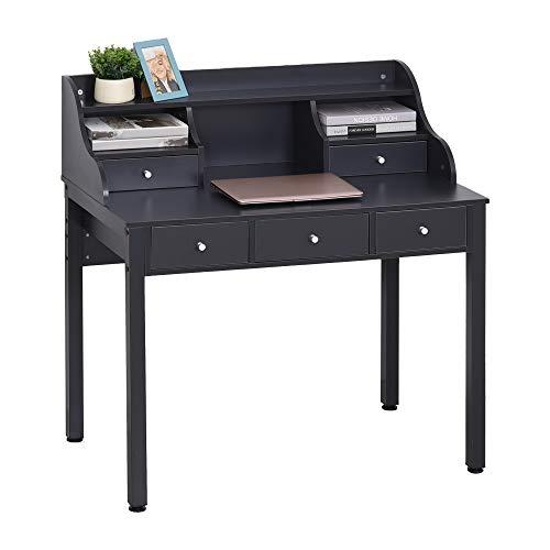 HOMCOM Schreibtisch mit Regal Schublade, Arbeitstisch, Computertisch, Bürotisch, MDF, Dunkelgrau, 100 x 60 x 105 cm
