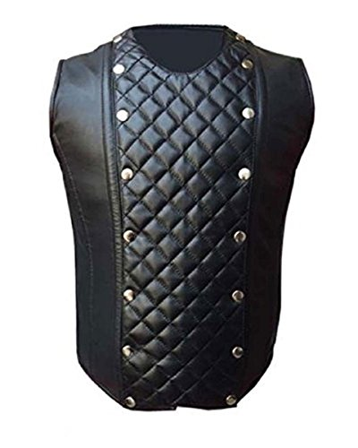 Leather Addicts Herren Korsett aus echtem Schaf, schwarzes Leder, mit Stahlstäbchen, LARP Steampunk Goth Gr. Small, Schwarz