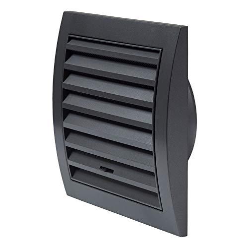 Ø 100mm Anthrazit Lüftungsgitter 150 x 150mm mit Schieberegler Abschlussgitter Insektenschutz ABS-Kunststoff Gitter