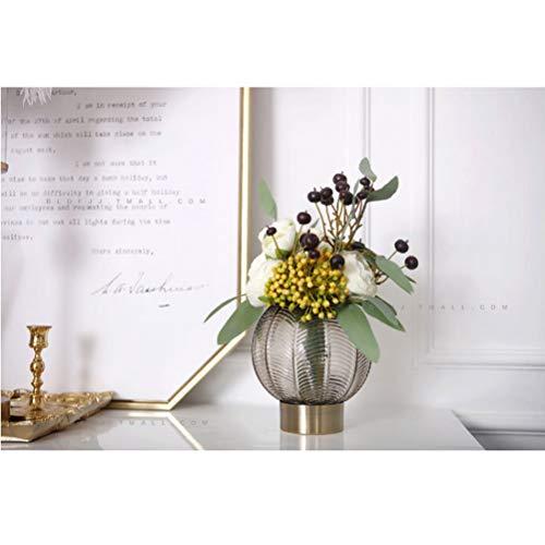 AIYYJ Modieuze ronde bloemenvaas Elegante grote glazen vazen tafelblad decoratieve bloemenweergave voor woonkamer, tafel, huis, kantoor