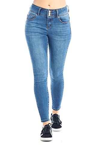 CI SONO Women's Skinny Fit Mid Rise Vintage Wash Classic Stretch Denim Jeans (1, Medium Wash)