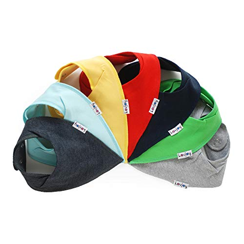 Lovjoy Bandana Halstuch Lätzchen - 7er Pack - Geeignet für den Sommer - 100% Baumwolle und weich für ultimativen Komfort mit Druckknöpfen - für 0-3 Jahre (Design 01)