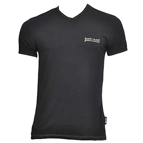 Just Cavalli - Camiseta con cuello en V, color negro