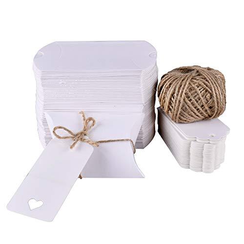 Gudotra 100pz Scatoline Portaconfetti Bianche Kraft +30M Corda+100pz Bigliettini Scatole per Confetti Matrimonio Comunione Battesimo Compleanno Laurea (6 * 9cm)