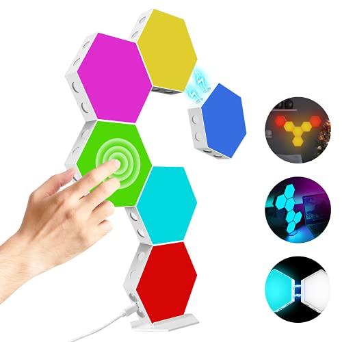 Hexagon Light Panels Kit,DIY Magnetische Hexagon Led Kann Kreative 2D und 3D Formen Erstellen,Mit Ständer und Viskose,7 Farben Rgb Led Deko Gaming Led Wand mit Berührungssteuerung,6 Panels