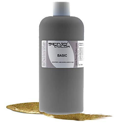 Senjo Color Peinture corporelle Basic - Métallique - Peinture pour le corps - Soluble dans l'eau - Liquide pour aérographe et pinceau - 500 ml (or)