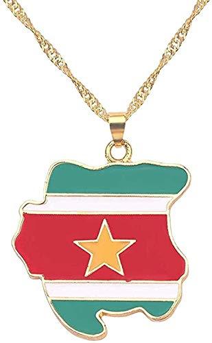 JSYHXYK Collar Collar con Colgante De La Bandera Nacional De Surinam, Collar con Mapa, Diseño De Personalidad, Regalo De Moda para Hombres, Mujeres, Collar, Cadena con Dijes, Joyería